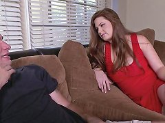 Milf In A Sexy Red Dress Gives The Best Blowjob Ever