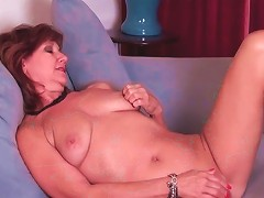 Chubby Mature Slowly Fucks A Toy Into Her Pussy