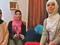 Three Muslim Besties Took Turned In Sucking And Riding The Strippers Cock
