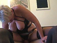 Mature Britt Cocksucks Dom In Front Of Sissy