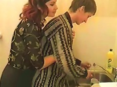 Russian Mom And Boy In Kitchen