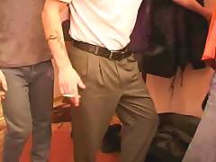 Russian Milf Pleasing Crowd Of Cocks