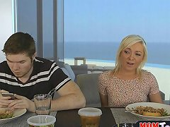 Mom Eats Out Teen Girlfriends Pussy During Family Lunch