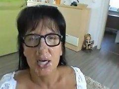 Mature Brunette In Glasses Cum