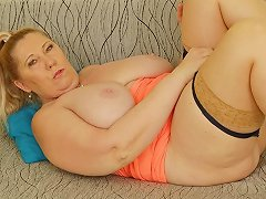 Euro GILF Dita Pleasures Her Big Breasts And Old Pussy